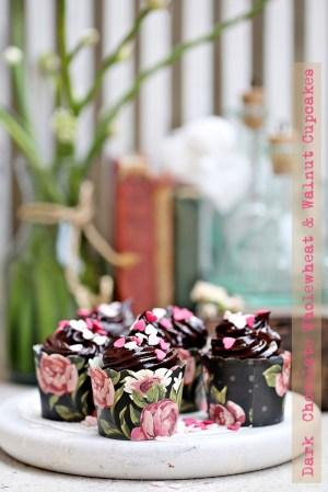 Dark  Chocolate Wholewheat & Walnut Cupcakes
