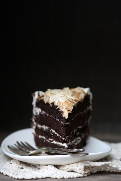 Dark Chocolate Layered Cake with Almond Meringue Topping … moist, dark, delicious