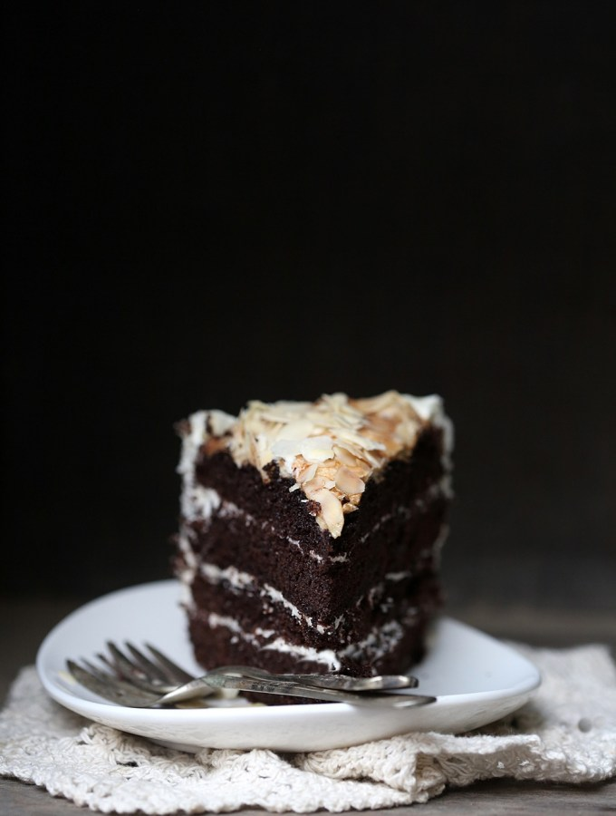 Dark Chocolate Layered Cake with Almond Meringue Topping … moist, dark, delicious