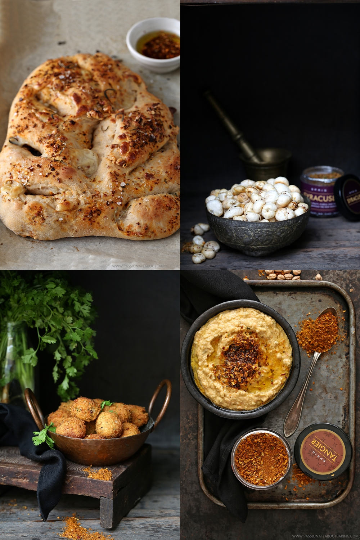 Genoa Fougasse. Also Malacca Spiced Yogurt, Tangier Hummus & Syracuse Foxnuts