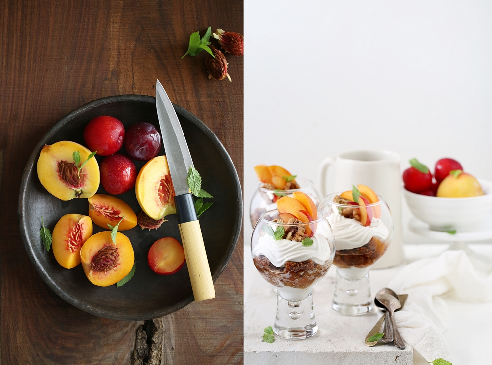 Oat Walnut Trifles with Vanilla Roasted Peaches & Plums
