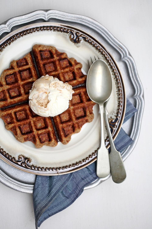 Wholegrain Cinnamon Oat Waffles with Clove Ice Cream