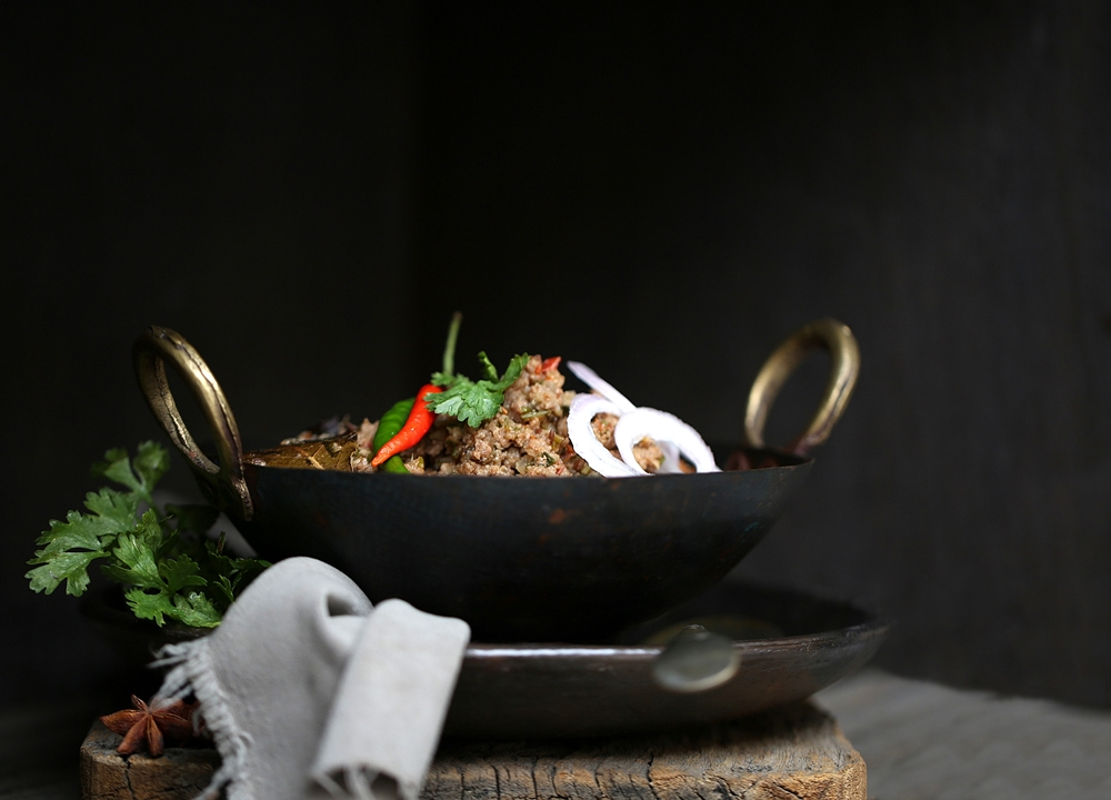 Dhungaar e keema, Smoked Indian lamb mince