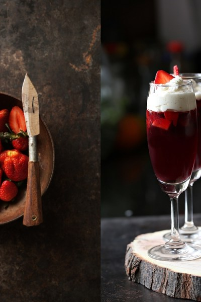 No bake | Strawberry Red Wine Jelly with orange whipped cream…have a great new year