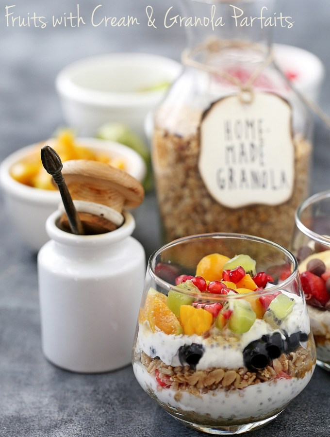 Baking | Fruits with Cream & Granola Parfaits … dessert for breakfast with cream, fruit & homemade granola