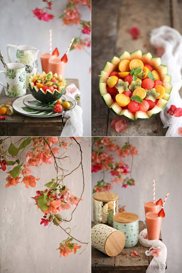 Strawberry-Pineapple-Smoothies-and-a-Watermelon-Kiwi-Gooseberry-Fruit-Bowl-2 Food Talk | Strawberry Pineapple Smoothies & Watermelon Kiwi Gooseberry Fruit Bowl- going Tropical with Chumbak