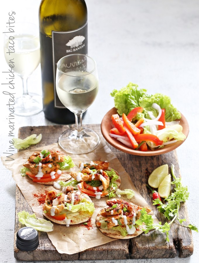 Wine marinated chicken taco bites #bigbanyanexperiences