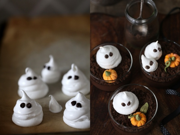 Dark-Chocolate-Halloween-Pudding-2 Dark Chocolate Halloween Pudding ... with meringue ghosts and fondant pumpkins on cookie dirt #glutenfree #dessert
