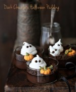 Dark-Chocolate-Halloween-Pudding Dark Chocolate Halloween Pudding ... with meringue ghosts and fondant pumpkins on cookie dirt #glutenfree #dessert