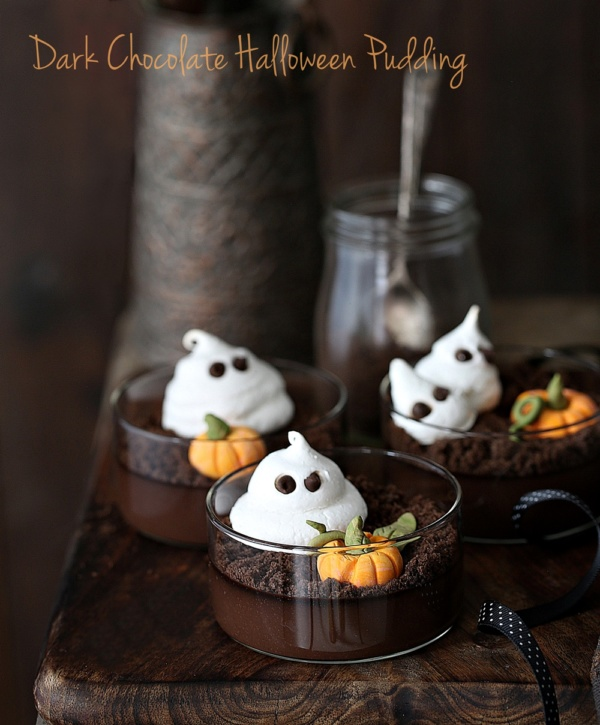Dark Chocolate Halloween Pudding … with meringue ghosts and fondant pumpkins on cookie dirt #glutenfree #dessert