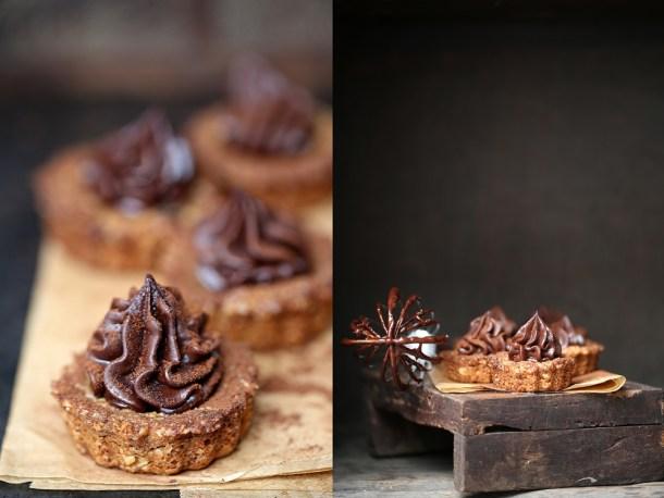 Oat-Walnut-Cookie-Pies-with-Dark-Chocolate-Ganache-1 Coffee Mascarpone Layered Cake with Dark Chocolate Ganache