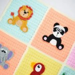 Crochet Safari Jungle Baby Blanket With 9 Animal Appliques