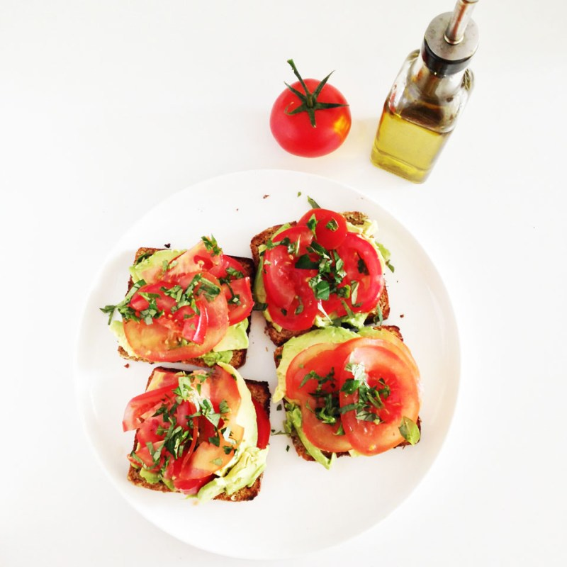 Avocado tomato on sprouted bread