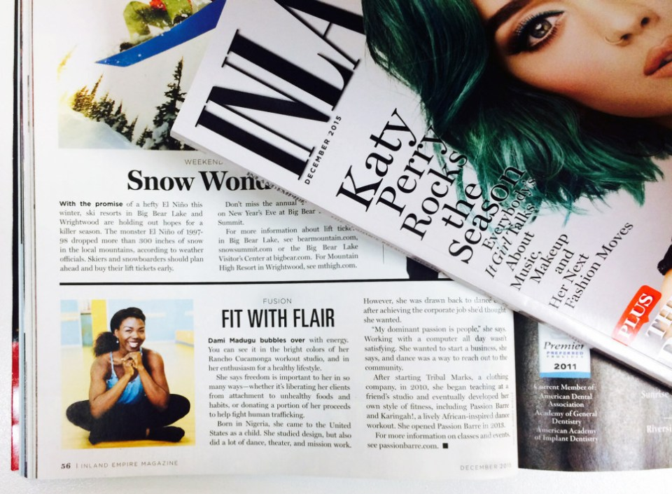 Passion Barre story featured in Inland Empire Magazine's December 2015 edition.