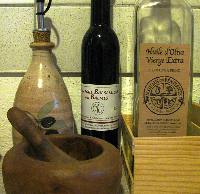 Passion Barre Blog Image of Salad Dressing Recipe bottles and mortar