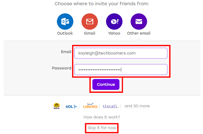 Choose to invite contacts to Badoo