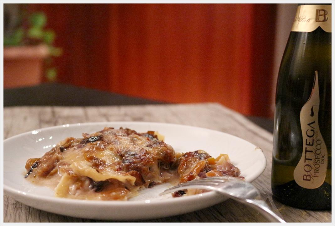 Lasagne zola, radicchio e peperone