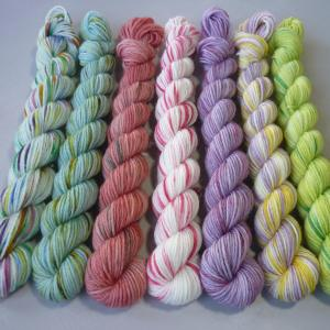 Bunch of Flower mini skein full set of seven vertical flat lay
