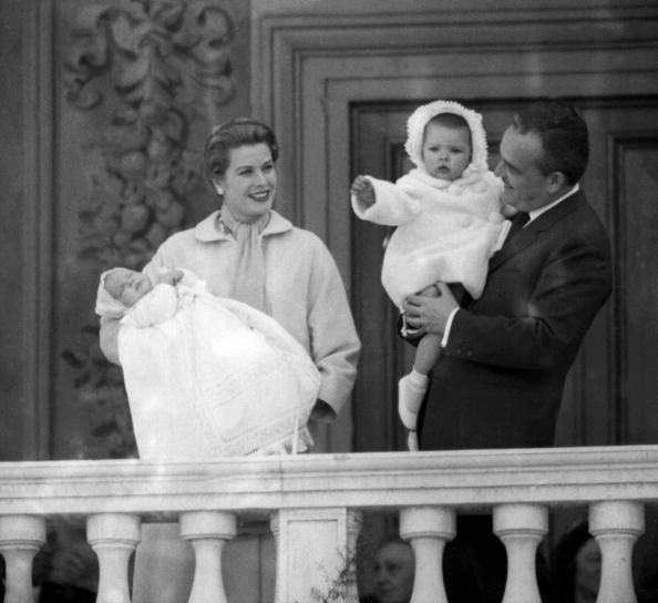 Prince Rainier of Monaco holding his daughter Caro