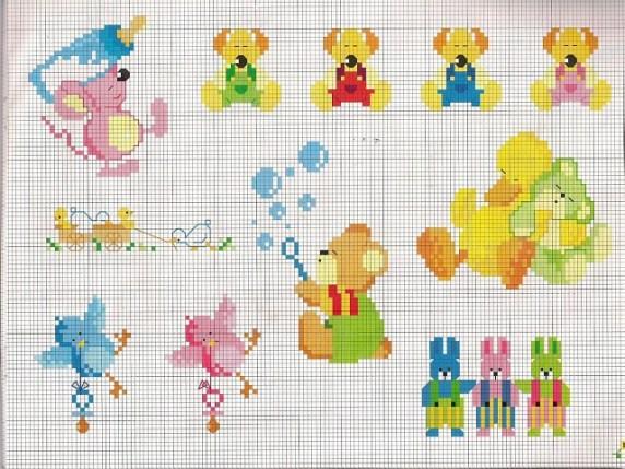Bavaglini punto croce schemi e disegni da ricamare for Punto a croce bambini