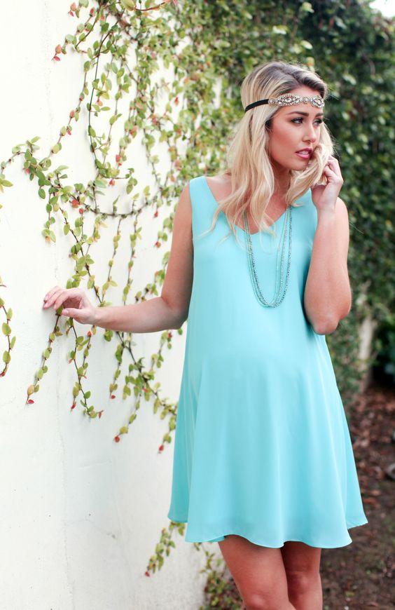 outfit vestito celeste