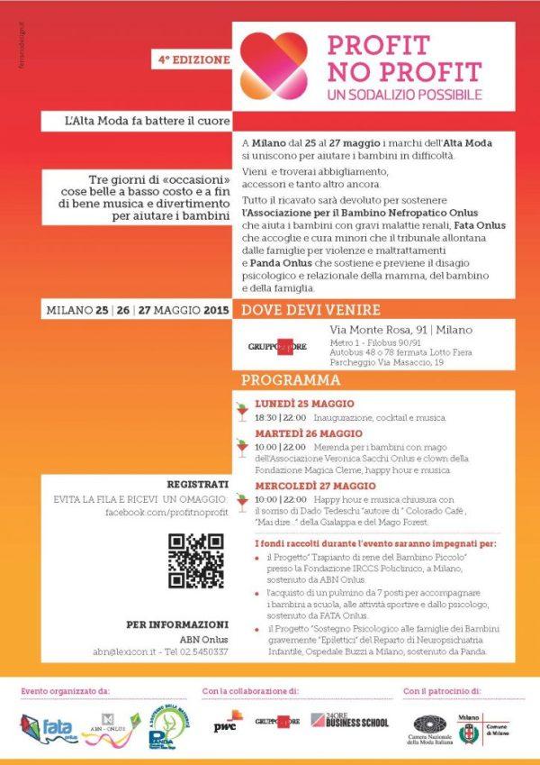 locandina invito evento Profit No  Profit 25 26 27 maggio 2015