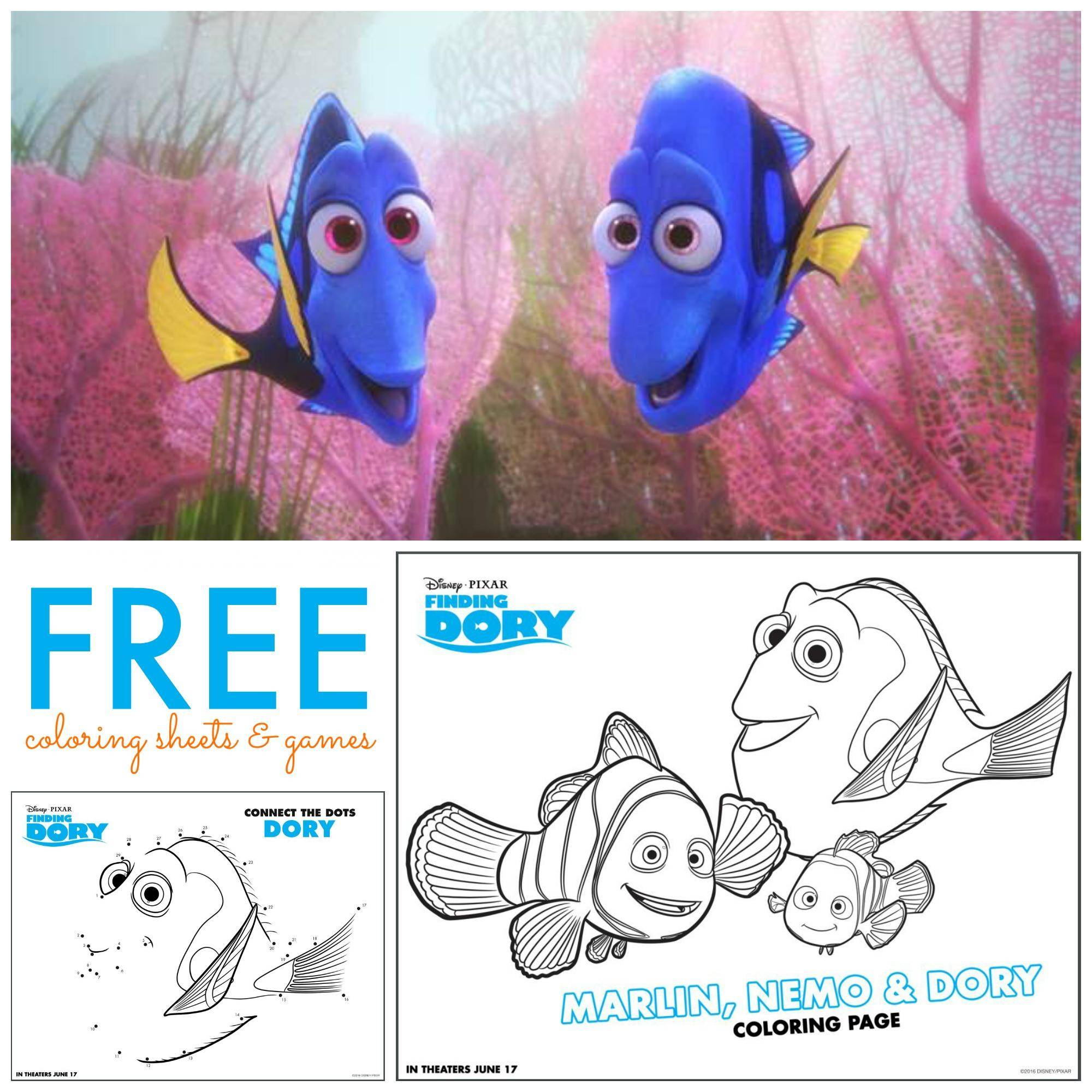 Free Finding Dory Coloring Sheets Amp Games