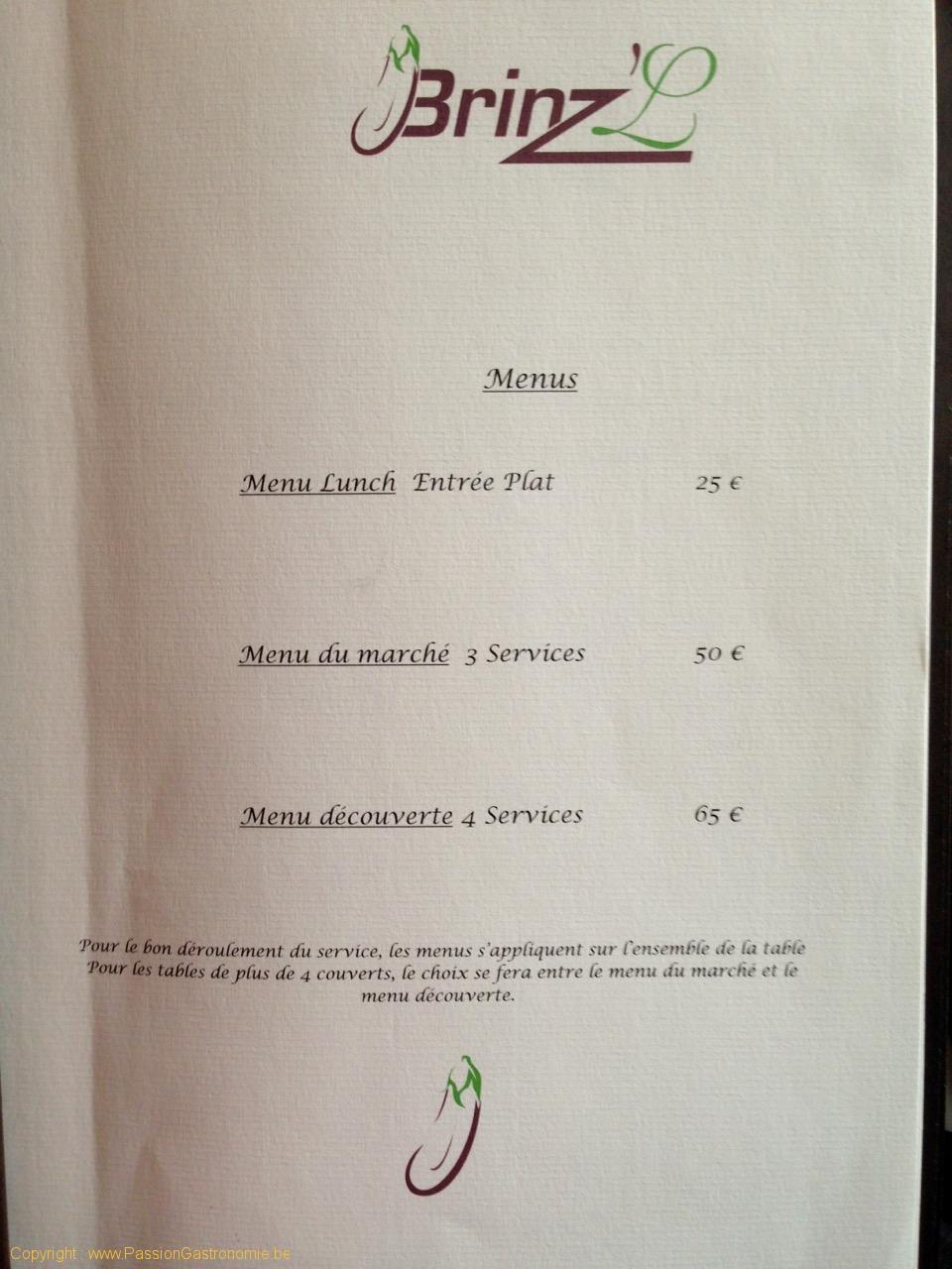 Brinzl, restaurant à Uccle - Menus