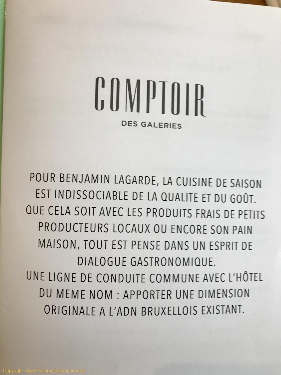 Restaurant Comptoir des Galeries - La ligne de conduite