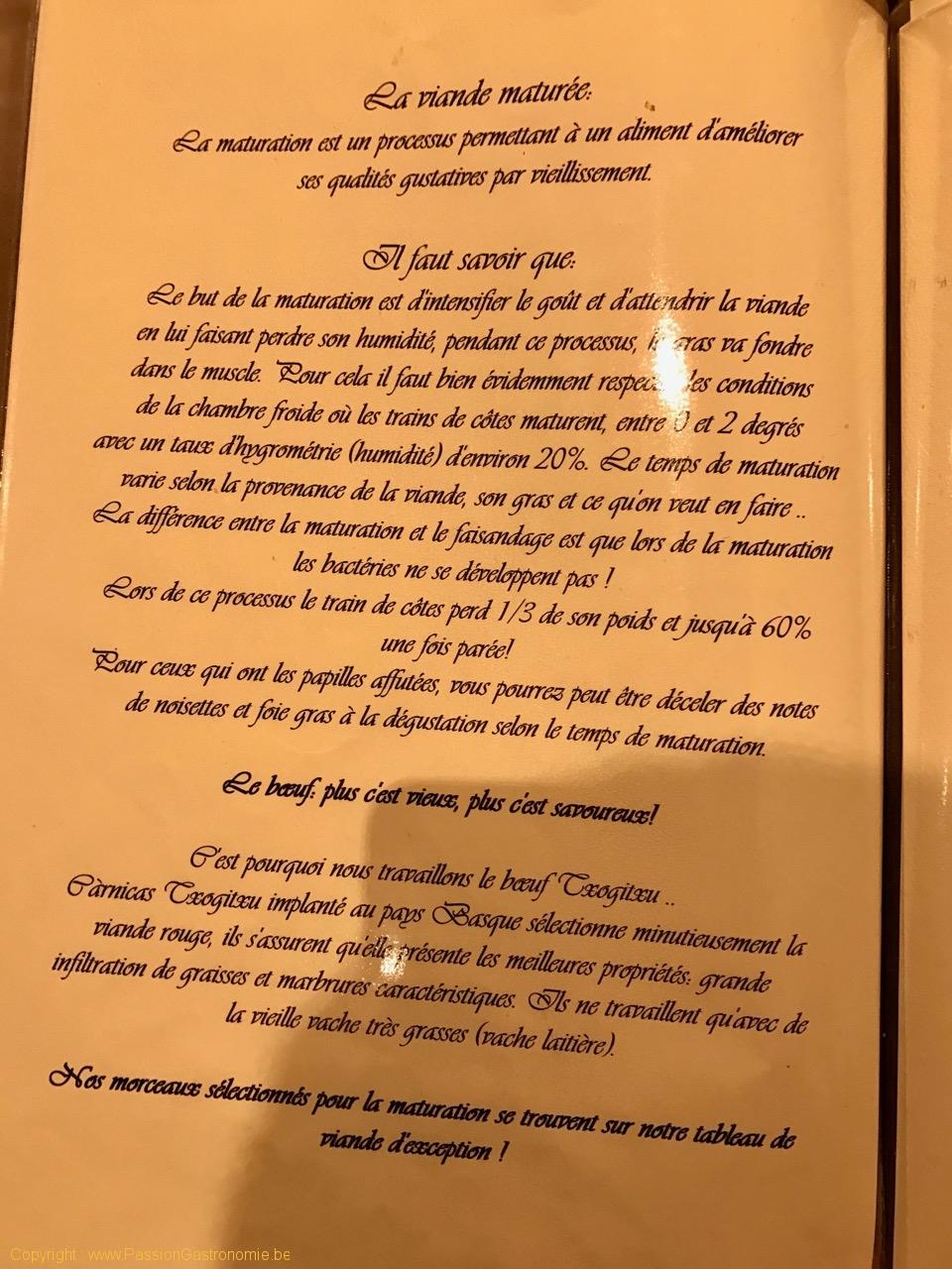 Restaurant L'Artiste à Falaen - La viande maturée