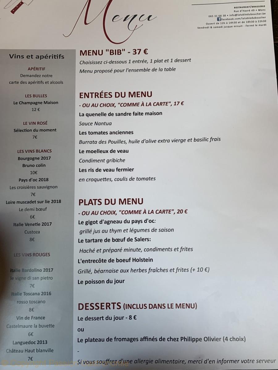 restaurant la table du boucher a mons