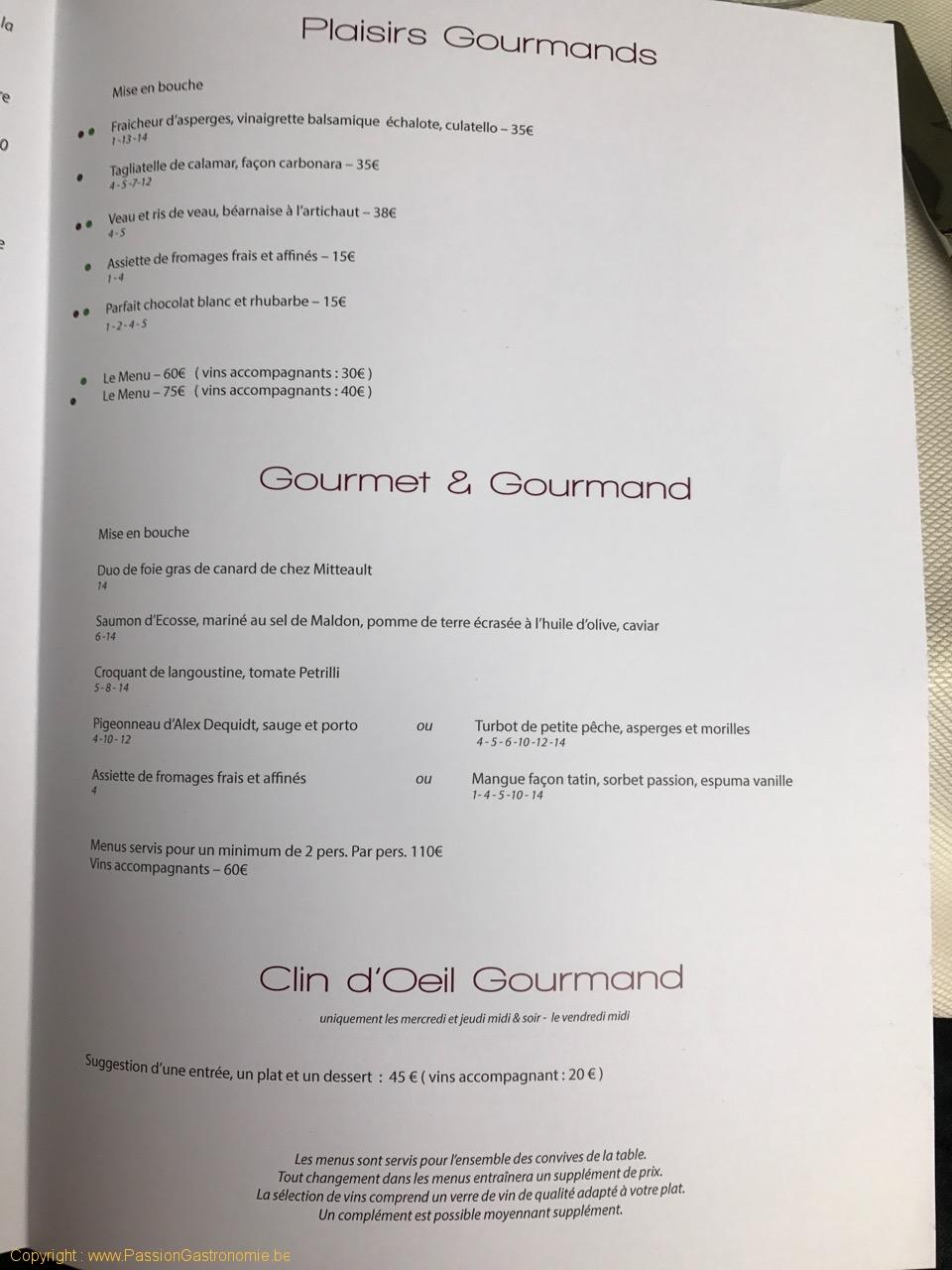 Restaurant Les Gourmands - Les menus