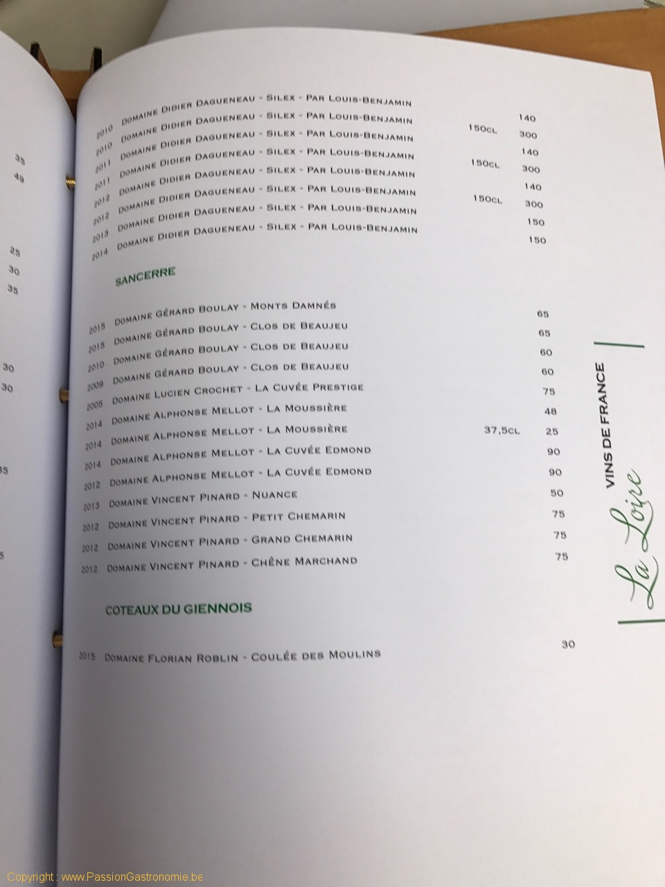 Restaurant Les Gourmands - Carte des vins - Sancerre