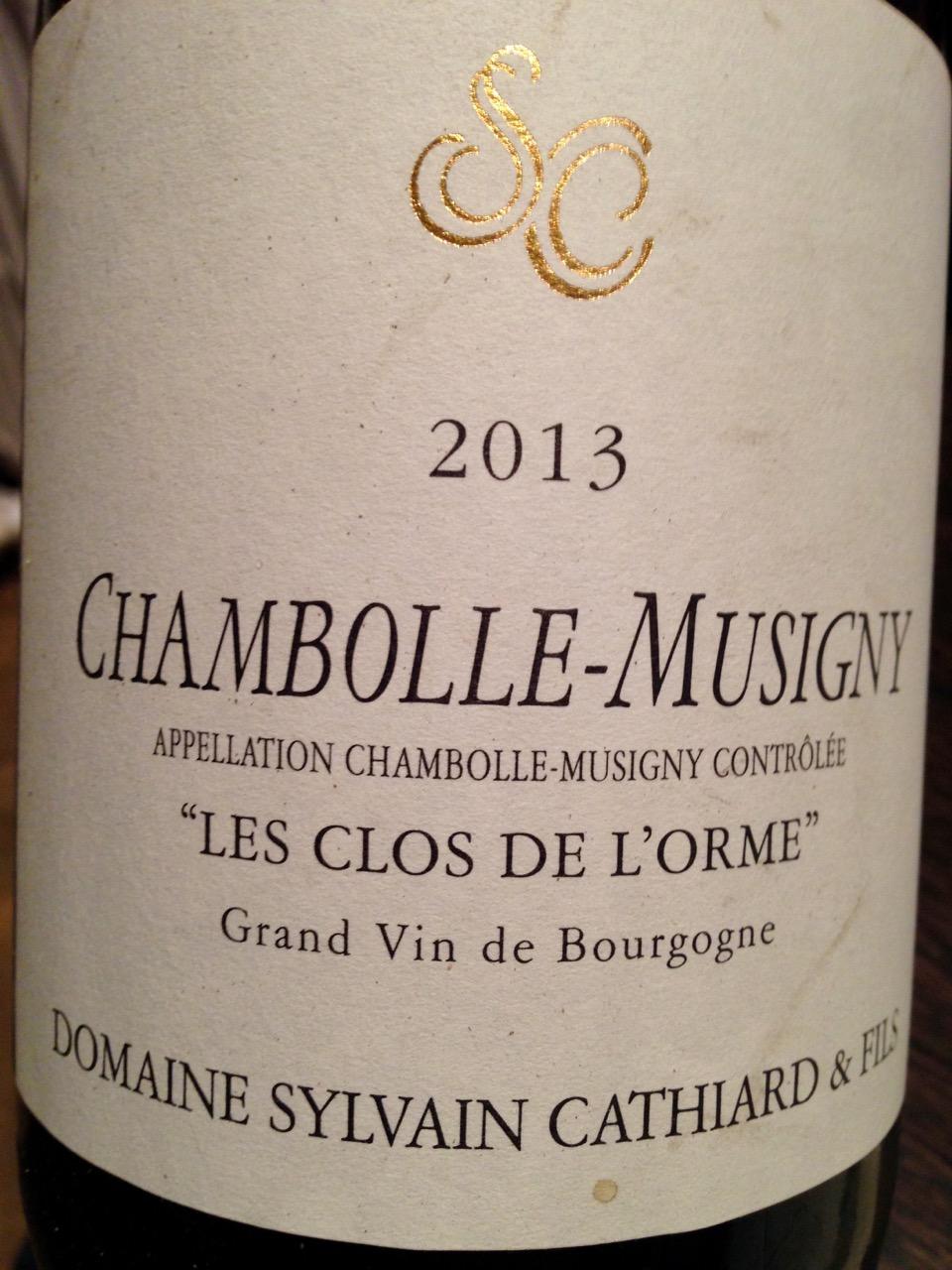 Restaurant Les Trois Petits Bouchons - Chambolle-Musigny Les Clos de l'Orme 2013 de chez Sylvain Cathiard