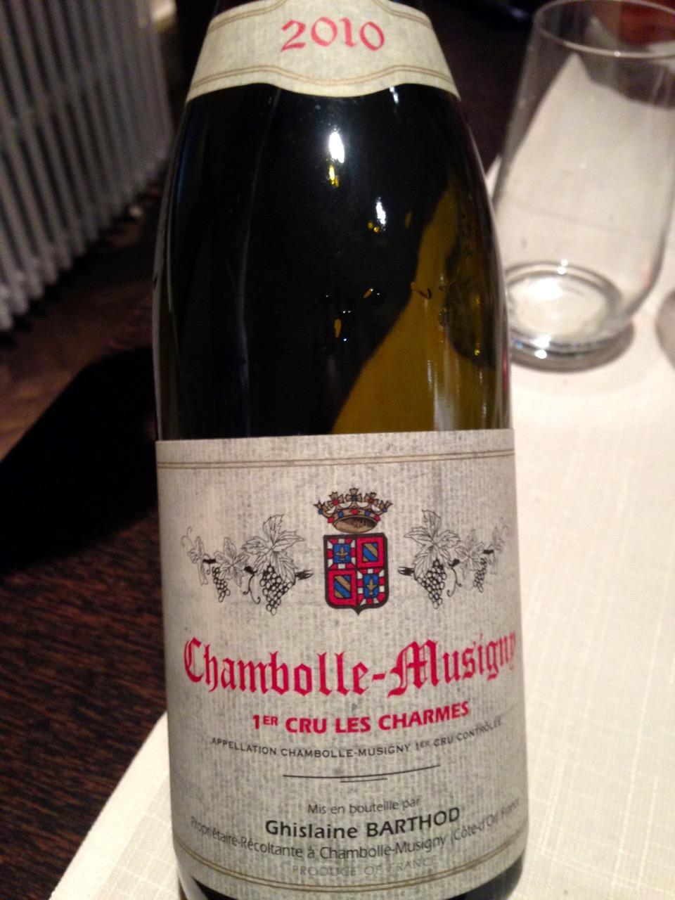 Restaurant Les Trois Petits Bouchons - Chambolle-Musigny 1er Cru Les Charmes de chez Ghislaine Barthod
