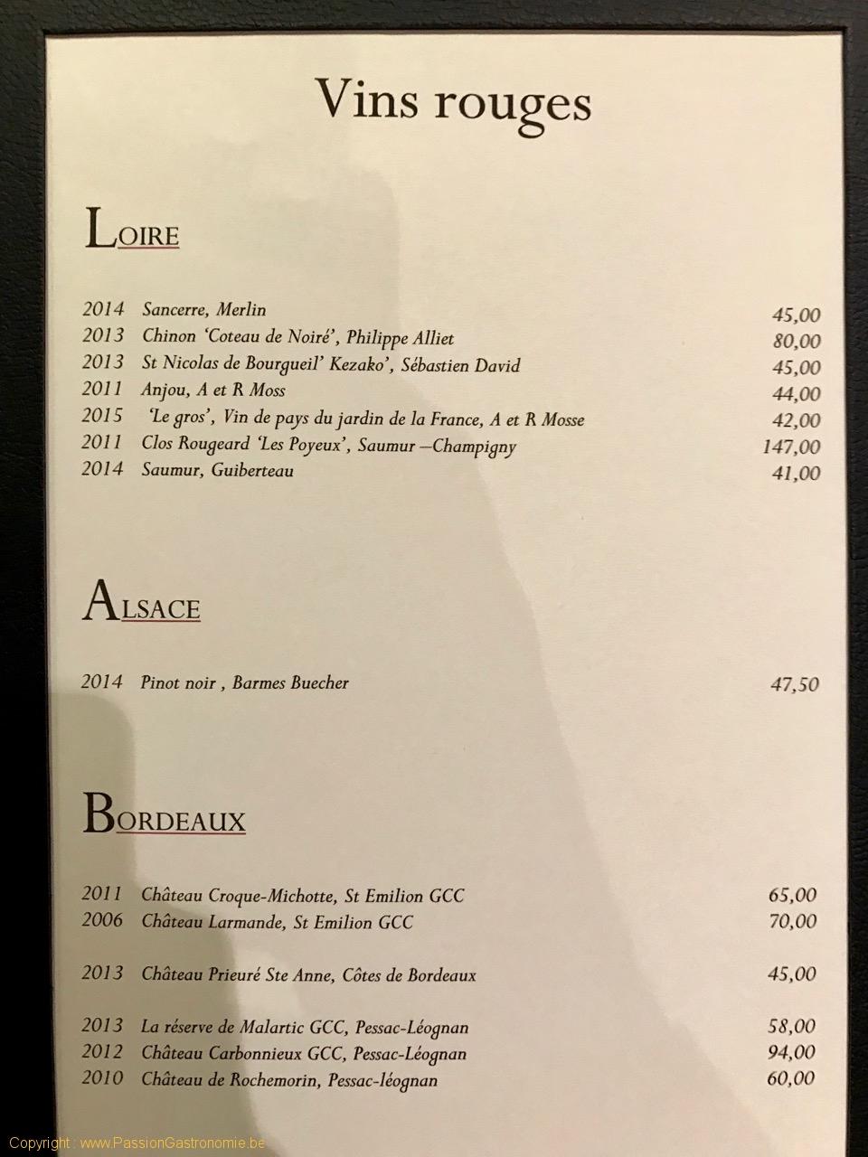 Restaurant Philippe Meyers - La carte des vins