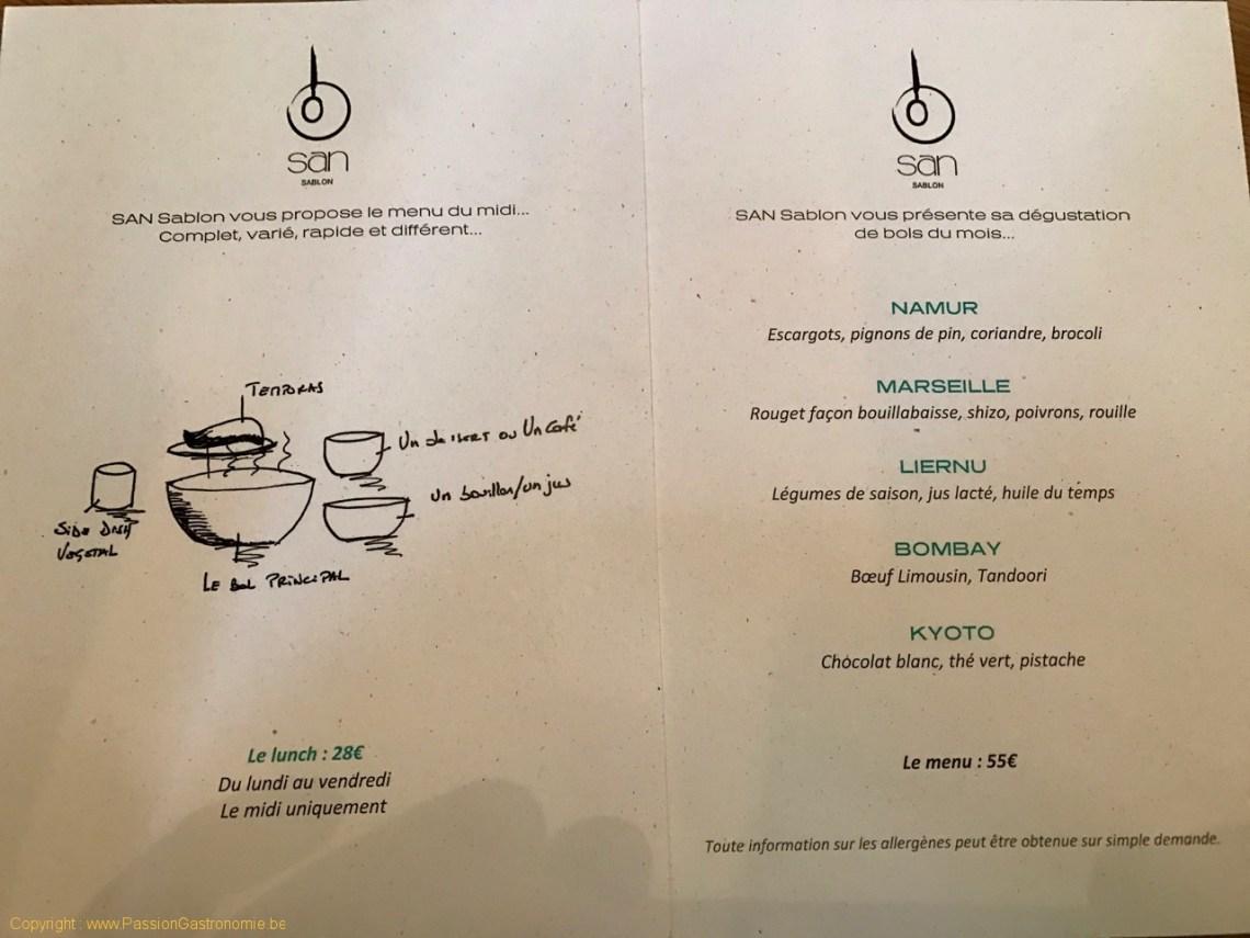 Restaurant San Sablon Bruxelles - Les menus et la carte