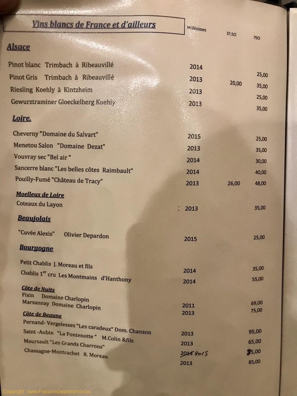Restaurant Tribeca - La carte des vins