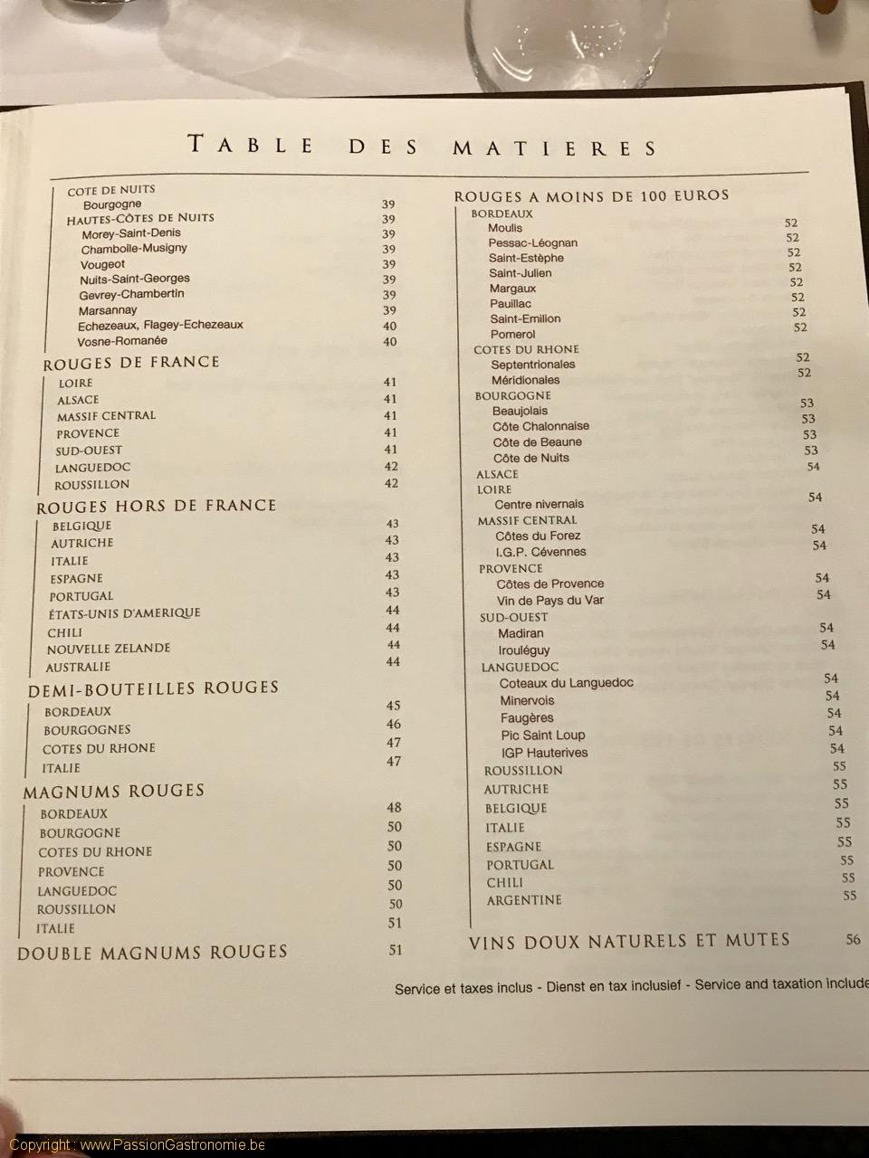 Restaurant Comme Chez Soi - La table des matières de la carte des vins