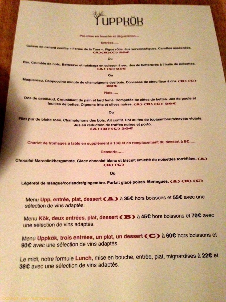 Restaurant Uppkok à Namur : le menu