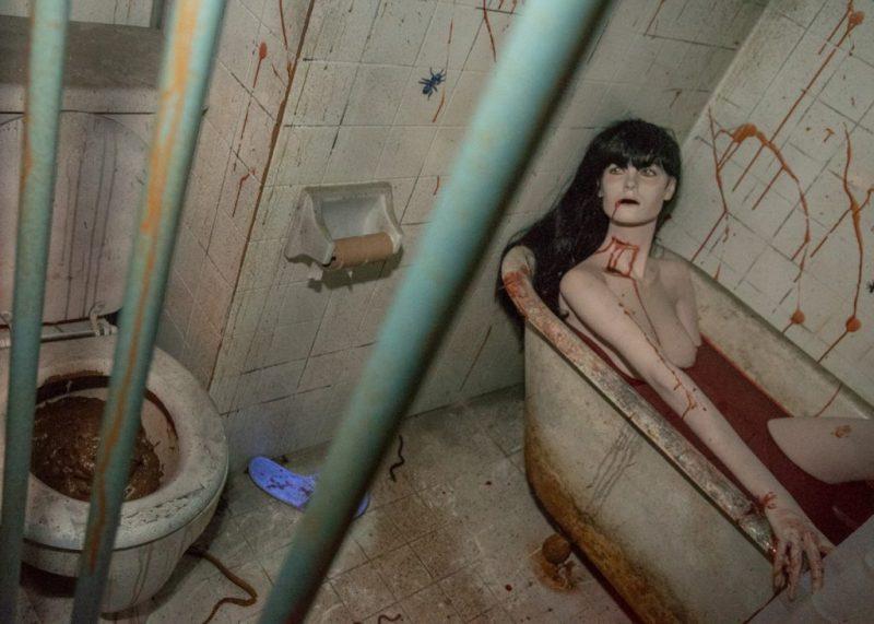 Foire de l'horreur décor femme dans le bain