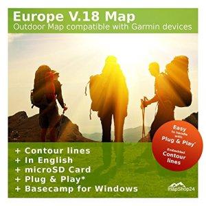 Europe V.18–Pro extérieur Topo carte Compatible avec appareils Garmin