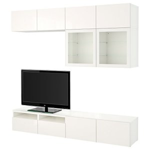 IKEA BESTA – combinaison de rangement TV / portes en verre blanc / Selsviken haute brillance / blanc verre clair