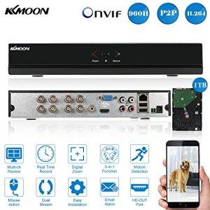kkmoon 8CH Canal plein 960H/D1DVR HVR NVR réseau P2P Cloud HDMI ONVIF Enregistreur vidéo numérique + Disque dur 1To prend en charge plug Play pour CCTV caméra de sécurité Système de surveillance