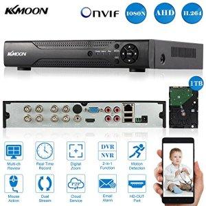 KKmoon 8CH 1080 N/720p AHD DVR NVR Réseau P2P Cloud HDMI ONVIF Enregistreur Vidéo Numérique + 1TB HDD Prend en Charge Plug Play pour 2000tvl CCTV Caméra de Sécurité Système de Surveillance