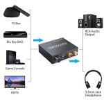 PROZOR 192KHz DAC Convertisseur Numérique SPDIF Optique Coaxial Toslink vers Analogique Audio Stéréo L/R RCA Jack 3,5 mm Adaptateur Convertisseur Volume Réglable avec Câble d'Alimentation USB et Câble Optique 4,0 OD Adaptateur Audio Vidéo en Alliage d'Aluminium pour Box TV HD Blu-ray DVD PS3 PS4 Xbox Consoles Jeux Home Cinéma AV Amps