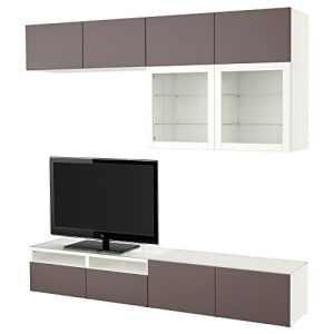 IKEA BESTA – combinaison de rangement TV / portes en verre blanc / marron foncé valviken verre clair