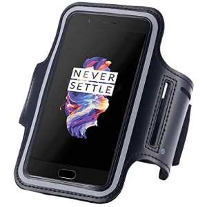 Bracelet de sport OnePlus 5 Fancy, Black Gym, Running, Jogging, marche, randonnée pédestre, exercices et exercice Bracelet pour OnePlus 5 avec bande ajustable à longueur réglable Noir