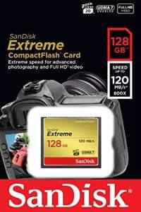 Carte Mémoire SanDisk Extreme CompactFlash UDMA7 128 Go avec une Vitesse de Lecture Allant Jusqu'à 120 Mo/s (SDCFXSB-128G-FFP)