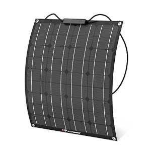 ALLPOWERS 50W 18V 12V Panneau Solaire Flexible (avec Connecteur ETFE Layer, MC4) Chargeur Solaire Semi-Bendable pour RV, Bateau, Cabine, Tente, Voiture, Remorque